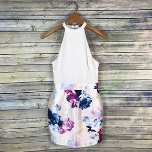 Boohoo White Floral Halter Dress